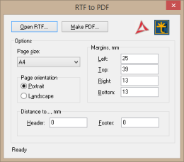 Demo application converting RTF to PDF (RTF2PDF)