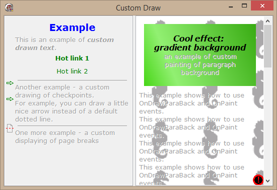 Custom drawing: Gradient paragraph background
