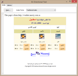 Demo Showing Bidirectional (Arabic and Hebrew) Text