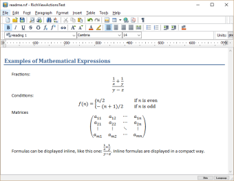 Mathematical expressions in the editor