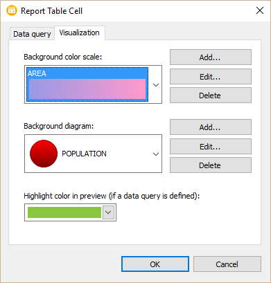 A dialog window for editing visualizers