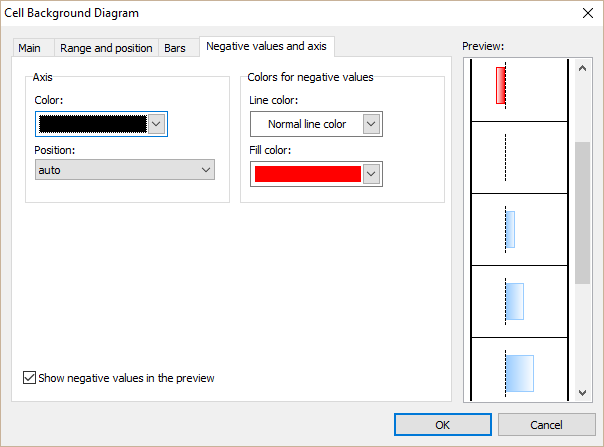 A dialog window for editing data bars