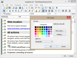 Main window of the ActionTest demo