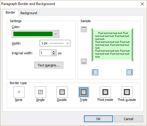Paragraph border and background dialog