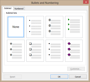 Bullets and numbering dialog