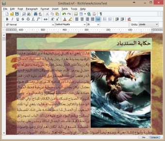 Arabic text processed using Uniscribe, distributed paragraph alignment, semitransparent paragraph background